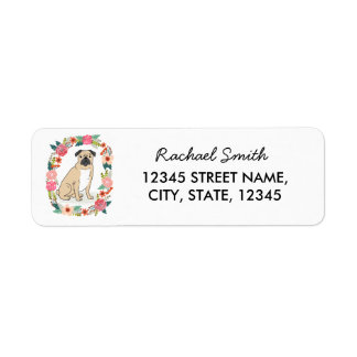 Pug return address label, cute girly flowers
