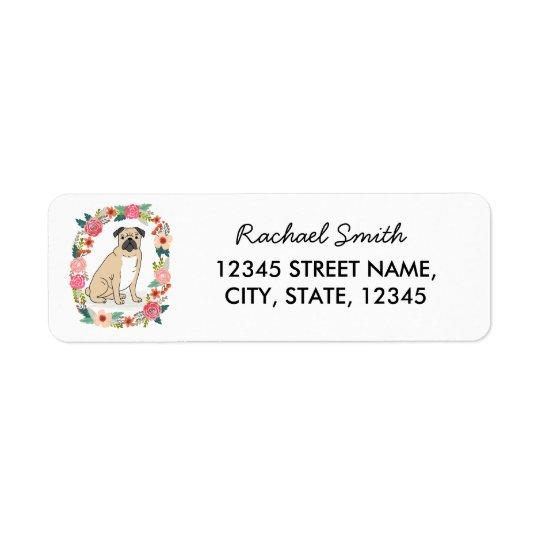 Pug return address label, cute girly flowers