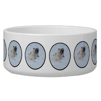 Pug Running Through Snow Pet Food Bowl