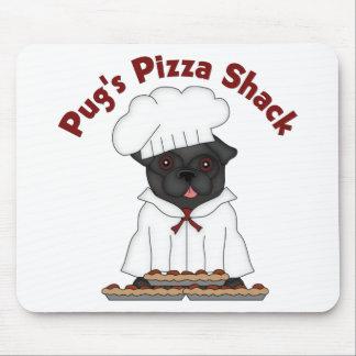Pug s Pizza Shack Black Pug Mousepad