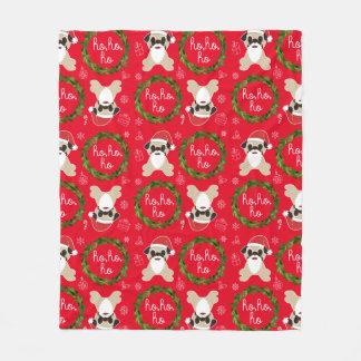 Pug Santa Claus Mistletoe Presents Snowflakes Fleece Blanket
