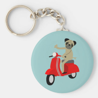 Pug Scooter Basic Round Button Key Ring