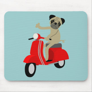 Pug Scooter Mouse Pad