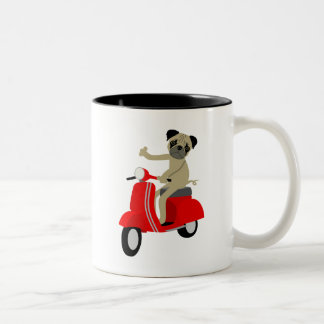 Pug Scooter Two-Tone Coffee Mug