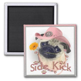 Pug Side Kick Square Magnet
