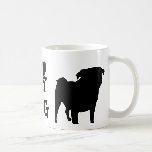 Pug Silhouette Basic White Mug