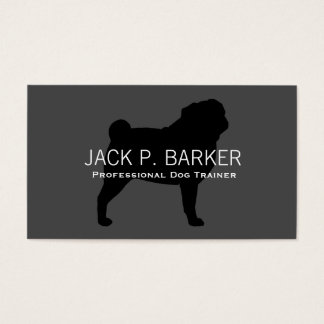 Pug Silhouette Black on Grey Business Card