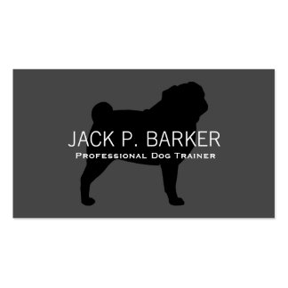 Pug Silhouette Black on Grey Pack Of Standard Business Cards
