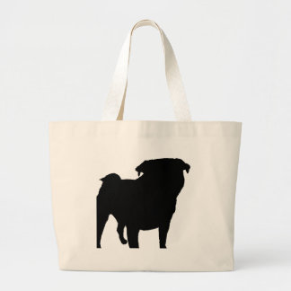 Pug Silhouette Large Tote Bag