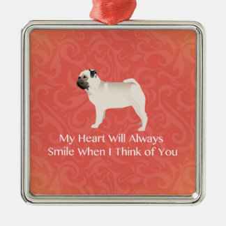 Pug Silhouette Thinking of You Design Christmas Ornament