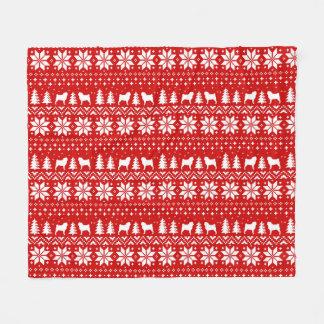 Pug Silhouettes Christmas Sweater Style Pattern Fleece Blanket