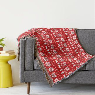 Pug Silhouettes Christmas Sweater Style Pattern Throw Blanket