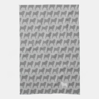 Pug Silhouettes Pattern Kitchen Towel