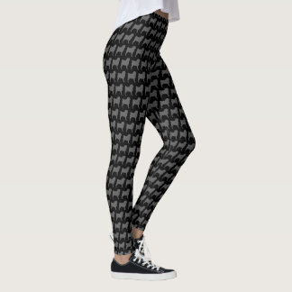 Pug Silhouettes Pattern Leggings