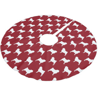 Pug Silhouettes Pattern Red Brushed Polyester Tree Skirt