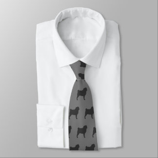Pug Silhouettes Pattern Tie