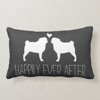 Pug Silhouettes with Heart and Text Lumbar Pillow