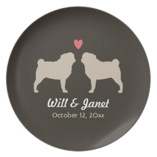 Pug Silhouettes with Heart and Text Plate