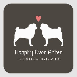 Pug Silhouettes with Heart and Text Square Sticker