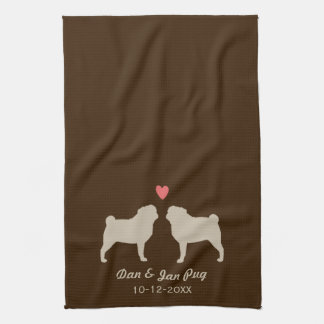 Pug Silhouettes with Heart and Text Tea Towel