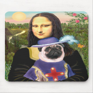 Pug (Sir) - Mona Lisa - Customized Mouse Pad