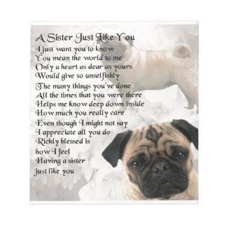 Pug  Sister Poem Notepad