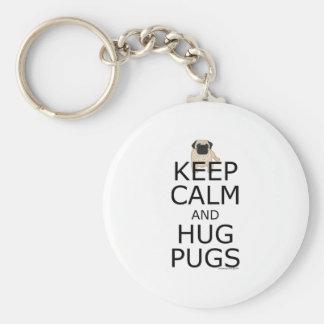 Pug Slogan: Keep Calm Hug Pugs Basic Round Button Key Ring