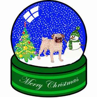 pug snow globe photo sculpture decoration