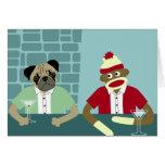 Pug & Sock Monkey Greeting Card