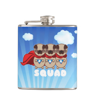 Pug Squad Beverage Hip Flask