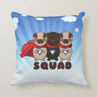 Pug Squad with Black Pug Pillow