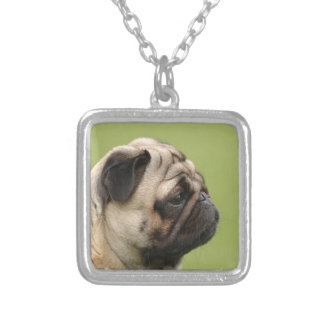Pug Square Pendant Necklace