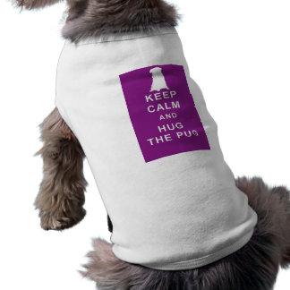 PUG T SHIRT KEEP CALM HUG THE PUG BIRTHDAY SLEEVELESS DOG SHIRT