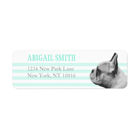 Pug  | Teal & white stripes Return Address Labels