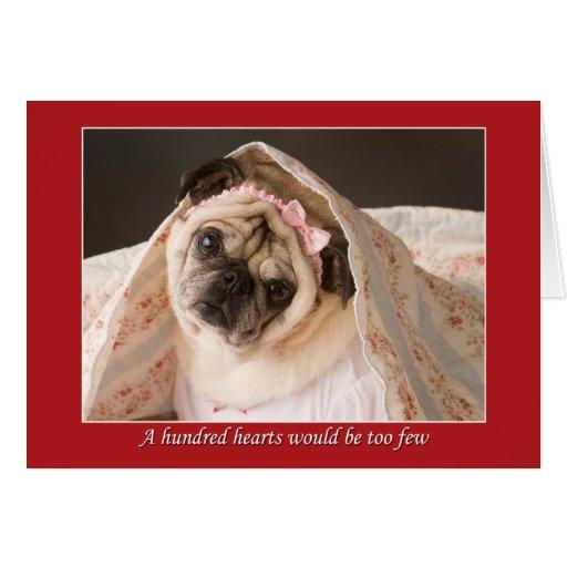 Pug Valentine A Hundred Hearts Card