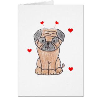 Pug Valentine Ears Greeting Card