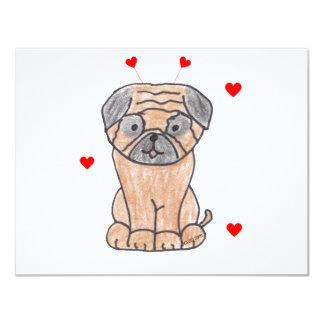 Pug Valentine Ears Custom Invite