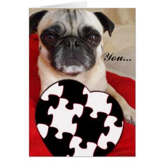 Pug Valentine Greeting Card