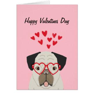 Pug Valentines Day Card - cute pug dog