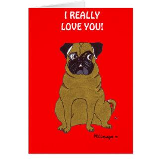 Pug Valentine's Day Greeting Card