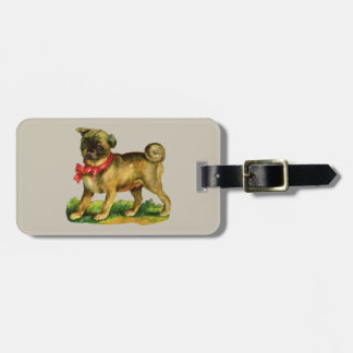 pug vintage luggage tag