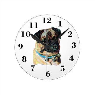 pug vintage portrait clock