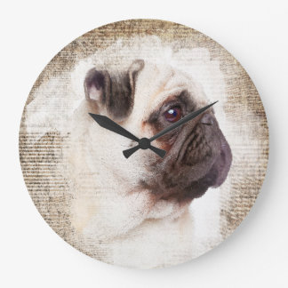 Pug Vintage Portrait Large Clock