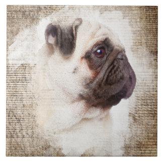Pug Vintage Portrait Tile