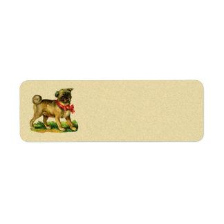 pug vintage return address label