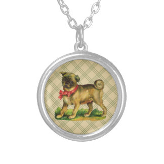 pug vintage silver plated necklace