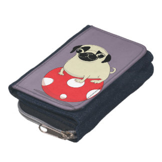 Pug wallet, cartoon on a denim wallet