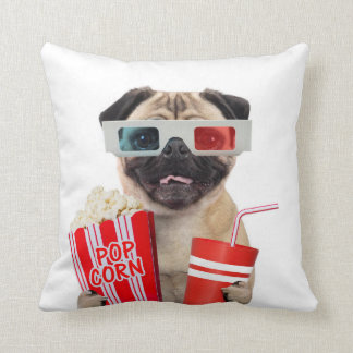 Pug watching a movie cushion