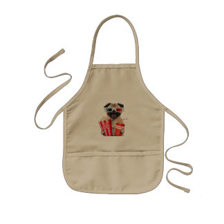 Pug watching a movie kids apron