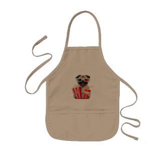 Pug watching a movie kids apron
